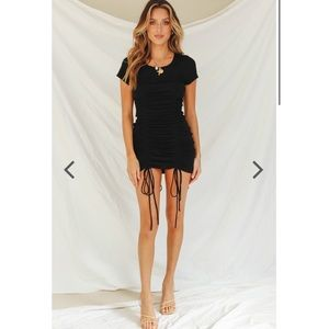 VG New York Designer Drawstring Mini Dress (black)